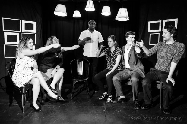 Scene from opening night of our improvised play The Well-Made Play. Photo by Steve Rogers Photograph